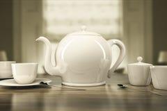 Bule e xícaras de chá Foto de Stock