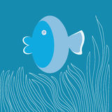 Bule Fish-Cartoon Royalty Free Stock Photography