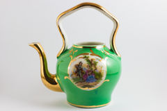 Bule romântico medieval do verde e do ouro Fotos de Stock Royalty Free