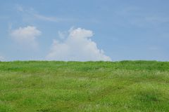Bule sky. Sky clouds green background Royalty Free Stock Images