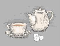 Bule tirado mão com o copo do chá Foto de Stock