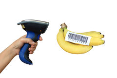 Buletooth barcode scanner and banana. Scanning banana with buletooth barcode scanner Stock Photo