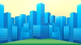 Bulevar com formato azul do vetor do edifício Foto de Stock Royalty Free