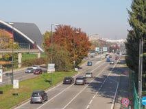 Bulevar de Corso Unita d Italia em Turin, Itália Fotografia de Stock
