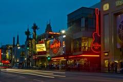 Bulevar de Hollywood en la noche Foto de archivo libre de regalías