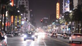 Bulevar de Hollywood en la noche almacen de video