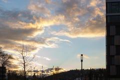 bulevar del otoño de la puesta del sol en noviembre fotografía de archivo