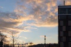 bulevar del otoño de la puesta del sol en noviembre imagenes de archivo