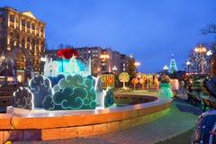 Bulevares de la decoración de la Navidad y calles de Moscú Imágenes de archivo libres de regalías