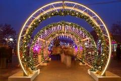 Bulevares de la decoración de la Navidad y calles de Moscú Imagenes de archivo