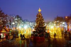 Bulevares de la decoración de la Navidad y calles de Moscú Imagen de archivo