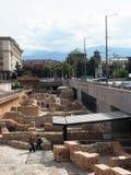 社论历史的废墟站点在首都索非亚, Bulga中部  图库摄影