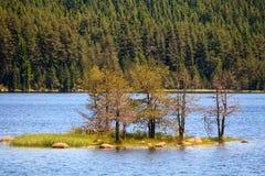 Bulgaars landschap met klein eiland Stock Foto's