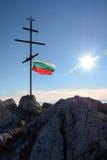 Bulgaars vlag en kruis Stock Afbeelding