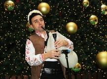 Bulgaarse bagpiper Stock Foto's
