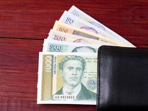 Bulgaarse lev in de zwarte portefeuille Stock Foto's