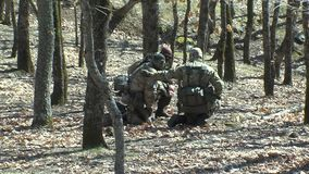 Bulgaarse mensen` s milities die de grens met Turkije bewaken stock videobeelden