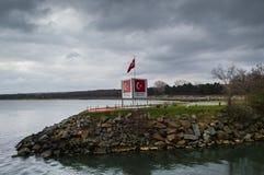 Bulgaarse Turkse grens op de Zwarte Zee Stock Fotografie