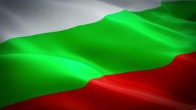 Bulgaarse vlag die in wind videolengte golven Volledige HD Realistische Bulgaarse Vlagachtergrond De Vlag van Bulgarije het Van e stock videobeelden