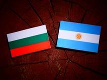 Bulgaarse vlag met Argentijnse vlag op een boomstomp Stock Afbeeldingen