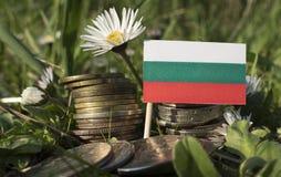 Bulgaarse vlag met stapel geldmuntstukken met gras Stock Afbeeldingen