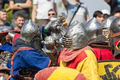 Bulgar, Russian Federation - August 2018, - men in knight`s suits perform in front of the audience at the festival of royalty free stock images