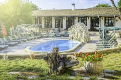 BULGAREVO, BULGARIA, AUGUST 09, 2016: cascade and swimming pool stock photos