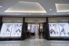 Bulgari时尚精品店橱窗 香港 库存照片