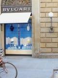 Bulgari窗口显示在夏季的佛罗伦萨 库存图片