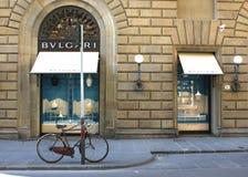 Bulgari窗口显示在夏季的佛罗伦萨 免版税库存照片