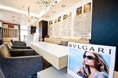 Bulgari ad in optician shop Royalty Free Stock Image
