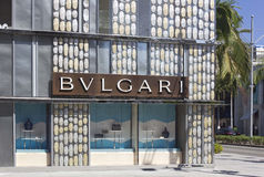 Bulgari shop in the famous Rodeo Drive street. LOS ANGELES, USA - AUG 17 2013: Bulgari shop in the famous Rodeo Drive street in Beverly Hills quartier Stock Photography