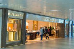 Bulgari store at Fiumicino Airport in Rome Royalty Free Stock Image