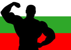 Bulgaria. National flag of Bulgaria with Athlete silhouette. Vector illustration Stock Image