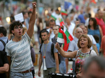 Bulgaria Anti Government Protest. Sofia, Bulgaria - July 26, 2013: Protesters shout anti-government slogans during a demonstration in central Sofia Royalty Free Stock Images