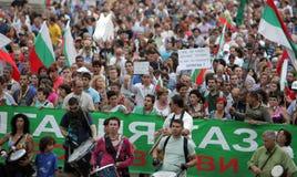 Bulgaria Anti Government Protest. Sofia, Bulgaria - July 26, 2013: Protesters walk during anti-government demonstration in central Sofia Stock Image