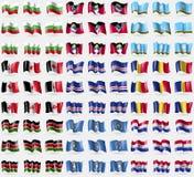Bulgaria, Antigua and Barbuda, Sakha Republic, Udmurtia, Cape Verde, Romania, Kenya, Marianna Islands, Paraguay. Big set of 81 fla Stock Photography