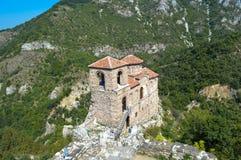 Bulgaria - Asenova Krepost. The old church and fortress - Asenova Krepost (Asenov Fortress Royalty Free Stock Photography