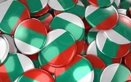 Bulgaria Badges Background - Pile of Bulgarian Flag Buttons. 3D Rendering Royalty Free Stock Photo