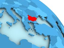 Bulgaria on blue globe. Bulgaria highlighted on blue 3D model of political globe. 3D illustration Royalty Free Stock Photos