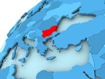 Bulgaria on blue globe. Bulgaria in red on blue model of political globe. 3D illustration Stock Photo