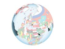 Bulgaria with flag on globe isolated. Bulgaria on bright political globe with embedded flag. 3D illustration isolated on white background Stock Image
