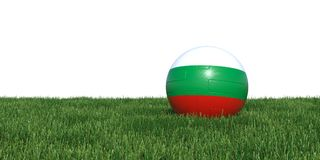 Bulgaria Bulgarian flag soccer ball lying in grass world cup 201. 8, isolated on white background. 3D Rendering, Illustration Royalty Free Stock Photography