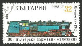 Steam Locomotive 1943. Bulgaria - CIRCA 1988: Stamp printed by Bulgaria, Multicolor memorable edition offset printing on the topic of railway and steam traction Royalty Free Stock Photography