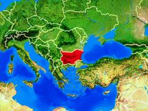 Bulgaria on Earth with borders. Bulgaria from space on model of planet Earth with country borders and very detailed planet surface. 3D illustration. Elements of royalty free stock photos