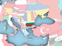 Map of Bulgaria with flag on globe. Bulgaria with embedded flag. 3D illustration Royalty Free Stock Image