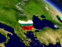Bulgaria with embedded flag on Earth Stock Photo