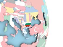 Bulgaria with flag on globe. Bulgaria with embedded flag on globe. 3D illustration Stock Photos