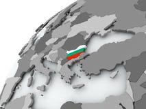 Flag of Bulgaria on grey globe. Bulgaria with embedded flag on globe. 3D illustration Stock Photography