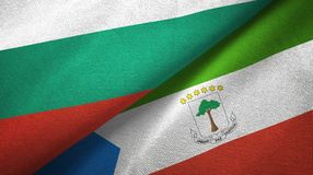 Bulgaria and Equatorial Guinea two flags textile cloth, fabric texture. Bulgaria and Equatorial Guinea two folded flags together stock illustration